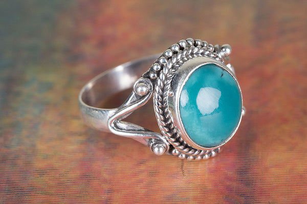 Amazing Natural Turquoise Gemstone Sterling Silver Ring,