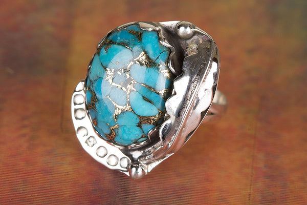 Blue Copper Turquoise Gemstone Silver Ring
