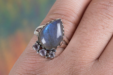 Amazing Labradorite & Amethyst Silver Ring, 925 Sterling Silver, Classic Ring,Trendy Ring,Attract Ring, Blue Flash ring,casual Ring, Statement Ring, Unique Stylish Ring, Attractive Ring,Pear shape Ring,Wedding Ring, Gift her