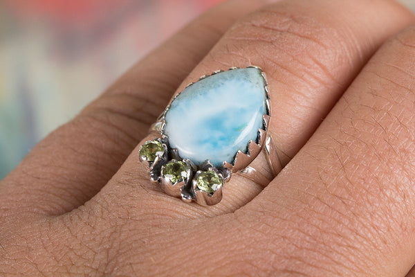 Larimar Ring 925 Silver Modern Designer Ring Bohemian Ring Casual Ring Special Occasion Ring Granulation Ring Gypsy Ring Engagement Ring Gift Her