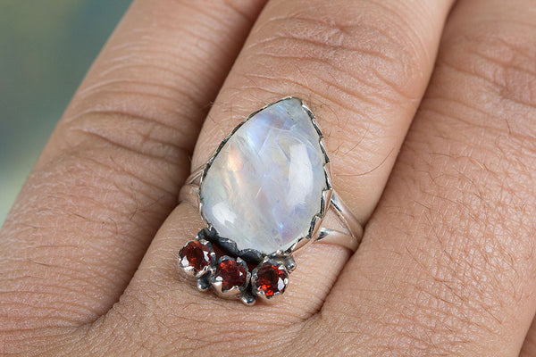 Rainbow Moonstone & Garnet Gemstone Silver Ring