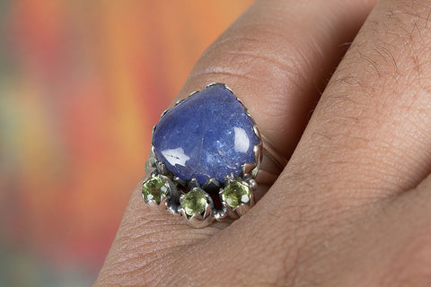 Tanzanite & Peridot Gemstone Silver Ring