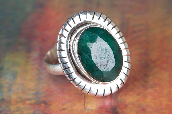 Emerald Gemstone Sterling Silver Ring