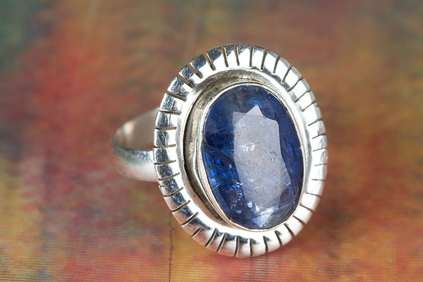Kyanite Gemstone Sterling Silver Ring,