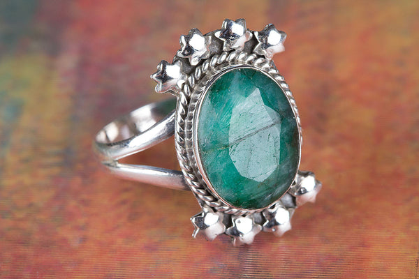 Pure 92.5 Sterling Silver Emerald Gemstone Ring