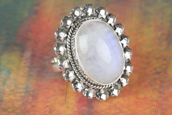 Rainbow Moonstone Ring, 925 Sterling Silver, Oval Shape Gemstone Ring, Victorian Ring, Delicate Ring, Dainty Ring, Boho Ring, FriendShip Ring, Blue Flash Ring, Anniversary Ring, Wedding Ring, Gift Ring.