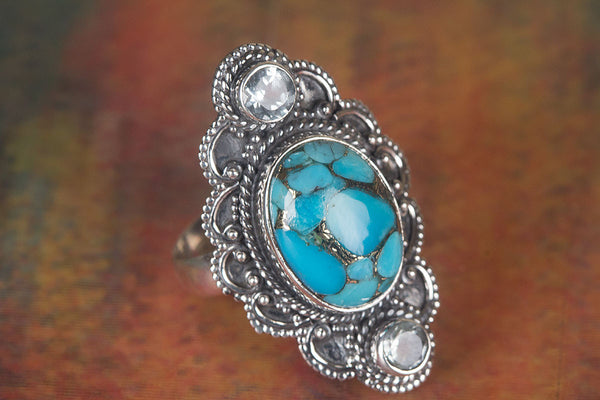 Amazing Blue Copper Turquoise Gemstone Sterling Silver Ring