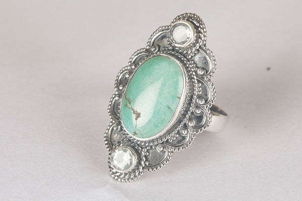 Natural Turquoise Gemstone Pure Sterling Silver Ring,