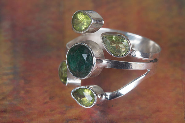Pure Sterling Silver Emerald Gemstone Ring