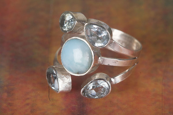 Amazing Larimar Gemstone Sterling Silver Ring,