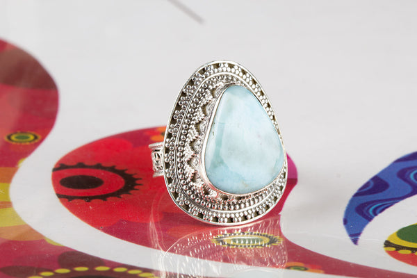 Larimar Gemstone Sterling Silver Ring,