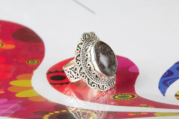 Black Rutile Gemstone Sterling Silver Ring,