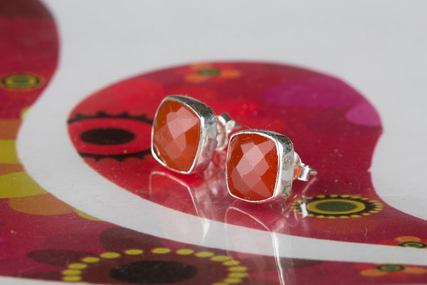 Faceted Carnelian Gemstone Sterling Silver Stud