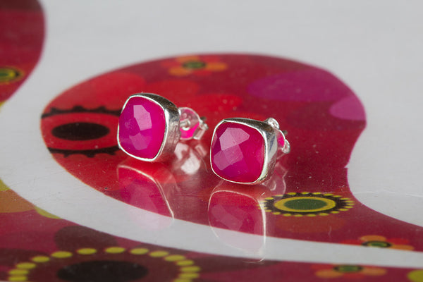 Faceted Pink Chalcedony Gemstone Sterling Silver Stud