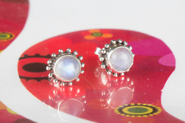 Rainbow Moonstone Gemstone Sterling Silver Stud