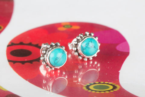 Turquoise Gemstone Sterling Silver Stud
