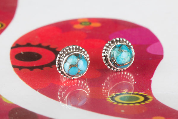 Blue Copper Turquoise Studs 925 Sterling Silver, Unique Pretty studs,, Yoga studs,, Elegant studs, Best Design studs, Yoga Studs, Elegant Studs, Elegant Studs, Stylish Studs, Bridal Studs, best Selling Pendent, Minimalist Jewelry,