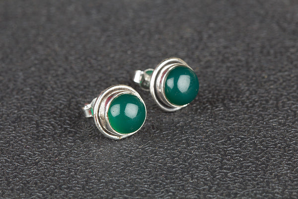 Emerald Gemstone Sterling Silver Stud