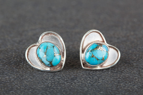 Blue Copper Turquoise Gemstone Sterling Silver Stud