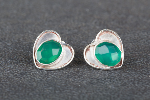 Faceted Green Onyx Gemstone Sterling Silver Stud