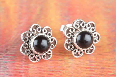 Black Onyx Gemstone Sterling Silver Stud