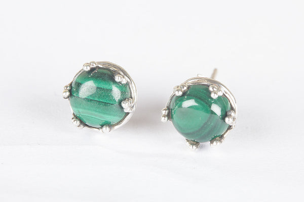 Malachite Gemstone Sterling Silver Stud