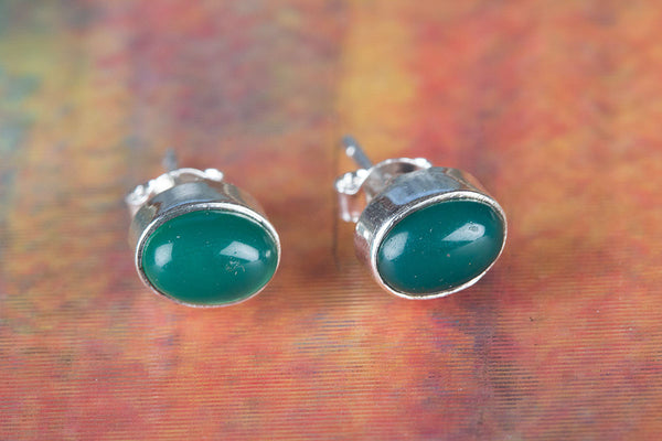 Green Onyx Gemstone Sterling Silver Stud