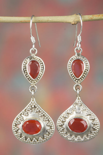 Handmade Twin Carnelian Gemstone Dangle Earrings Solid 925 Sterling Silver