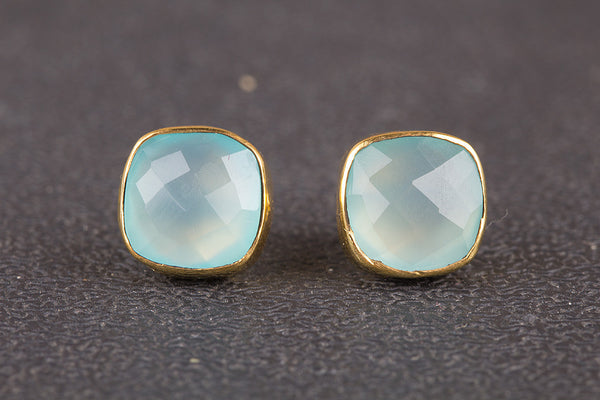 Faceted Aqua Chalcedony Gemstone Sterling Silver Stud
