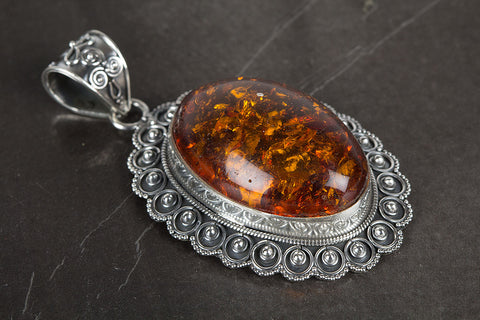 Amber Pendant, 925 Sterling Silver, Yellow Color Flash Pendant, Wedding Pendant, Birthstone Pendant, Gift For Her