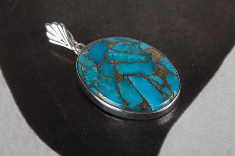 Blue Copper Turquoise Pendant, 925 Sterling Silver, Beautiful Pendant, Gorgeous Pendant, Birthstone Pendant