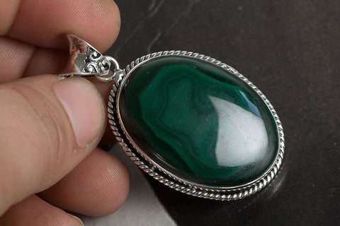 Malachite Pendant, 925 Sterling Silver, Unique Jewelry, Bohemian Pendant, Charm Pendant, Gift For Her