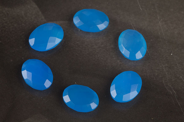 Oval Shape Faceted Blue Chalcedony Gemstone, Natural Gemstone , 16 x 12 mm Gemstone, Blue Oval 16 x 12 mm Gemstone, Jewelry Supplies, Gemstone Supplies