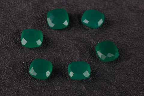 Green Cushion 10 x 10 mm Gemstone ,Cushion Shape Faceted Green Onyx Gemstone, Natural Gemstone , 9 x 9 mm Gemstone, Jewelry Supplies, Gemstone Supplies