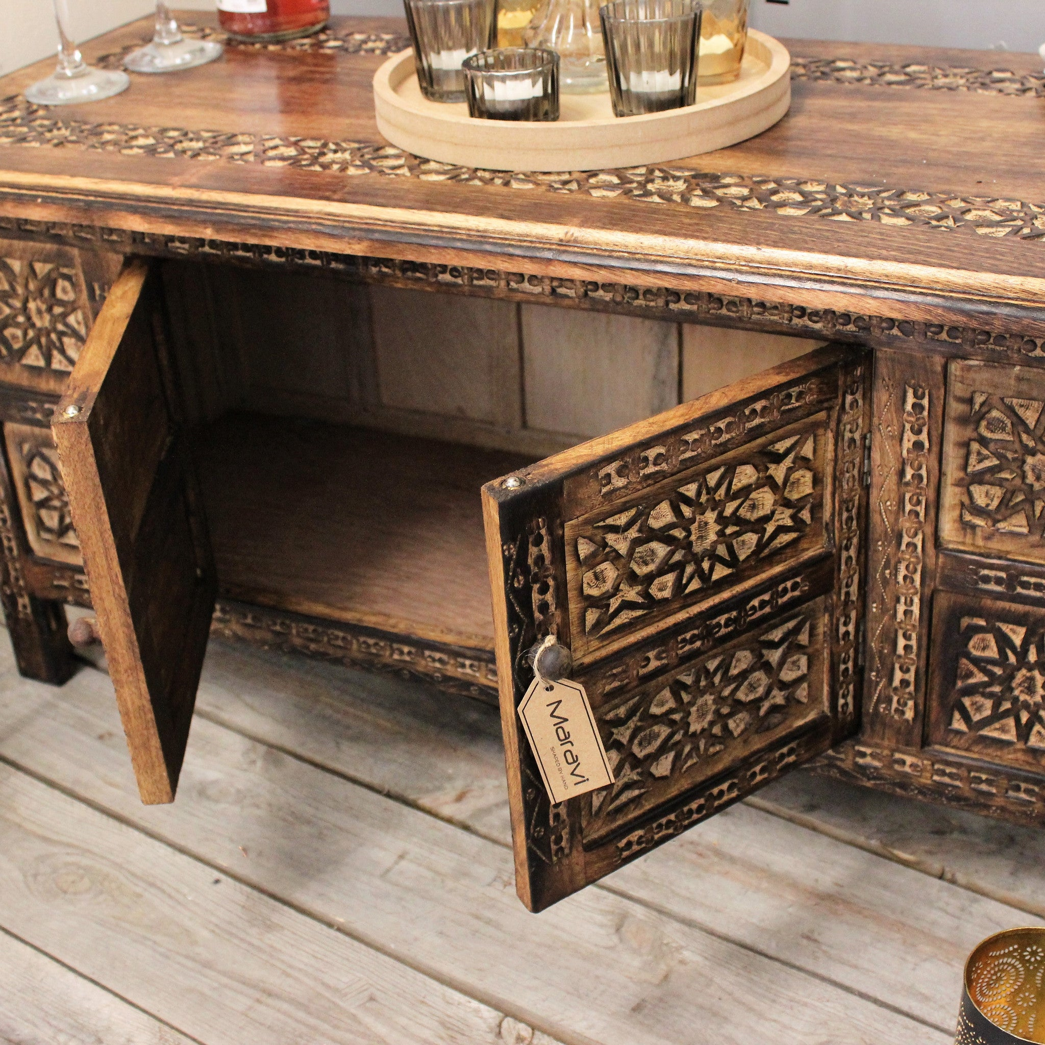 Palini Rectangle Coffee Table Moroccan Style Carving with Storage p