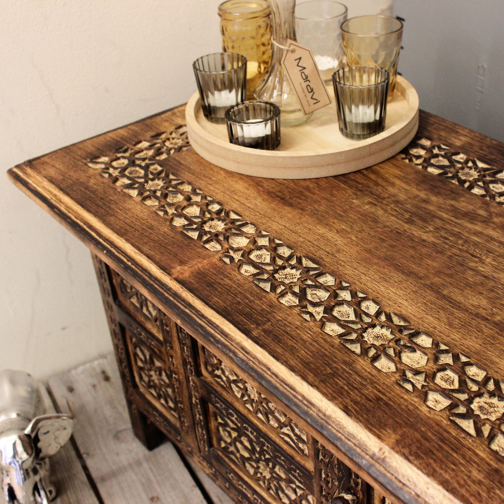 maravi rectangle coffee table moroccan style carving with storage comp
