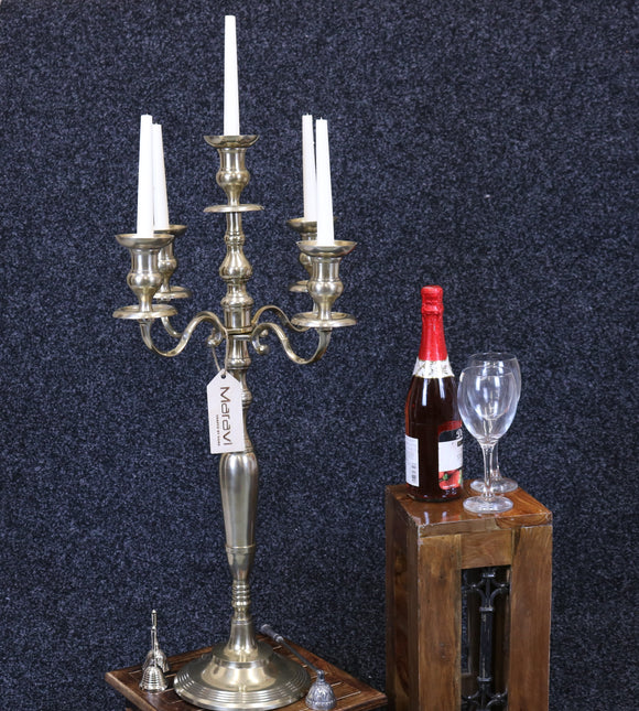 Anihar Gold Brass 5 Arm Candelabra