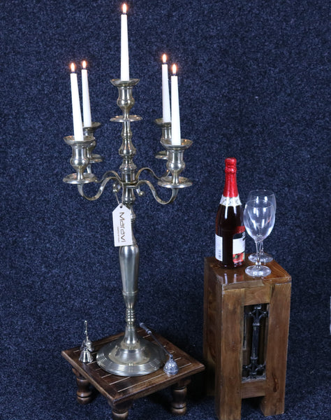 Anihar Gold Brass 5 Arm Candelabra Lit Candles