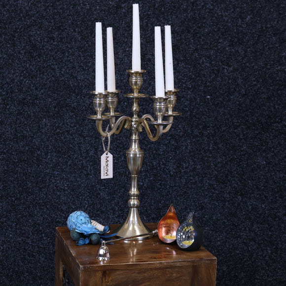Baloki Antiqued Candle Holder 5 Candle Tabletop Candelabra 42cm