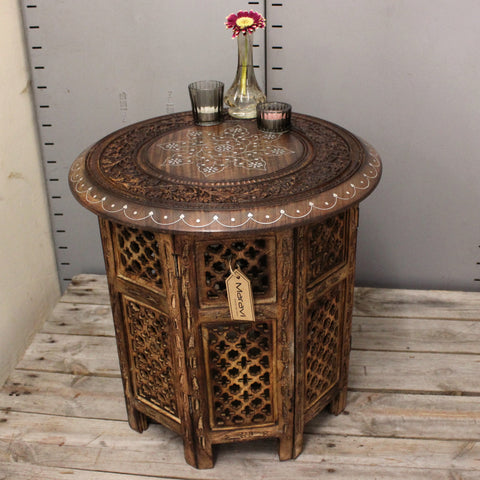 Damodar Wooden Side Table with Hand Carved Detail
