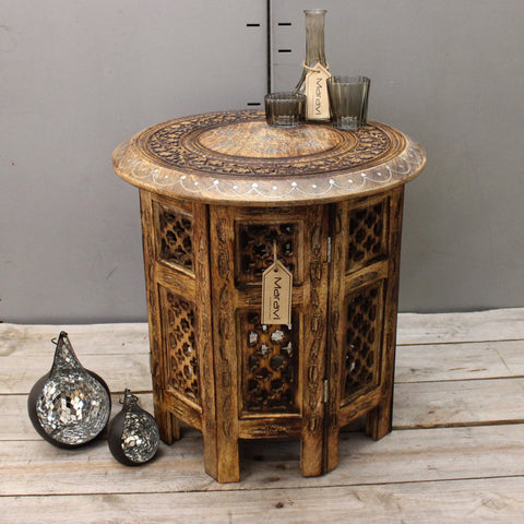 Maravi Medium Side Table with Hand Carved and Aluminium Inlay Detail