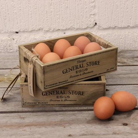 rustic wooden egg crates