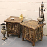 Maravi Set of 2 Square Side Table Moroccan Carving with Inner Storage