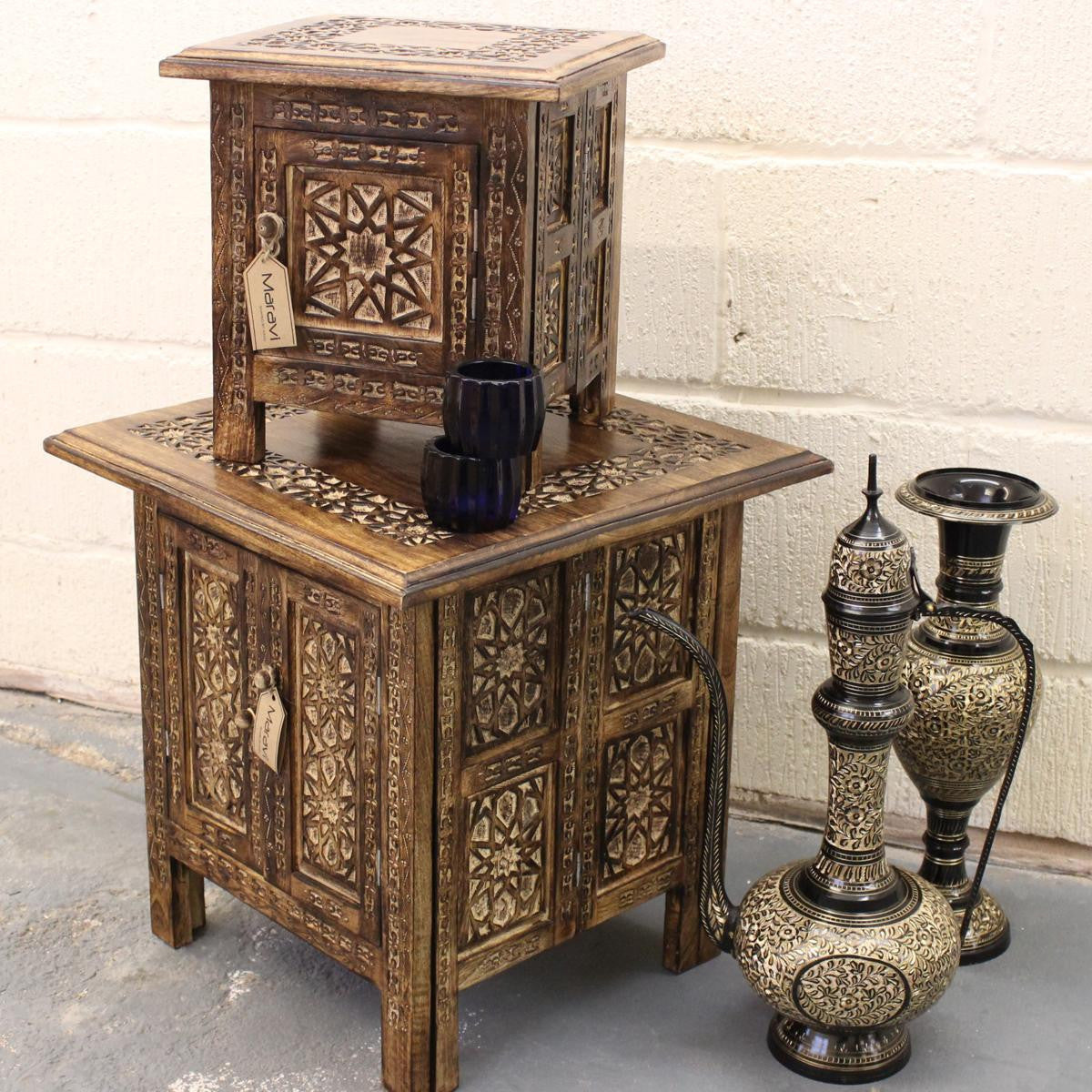 Burhi Set of 2 Square Side Tables Moroccan Carving