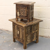 Maravi Set of 2 Square Side Tables Hand Carved Mango Wood