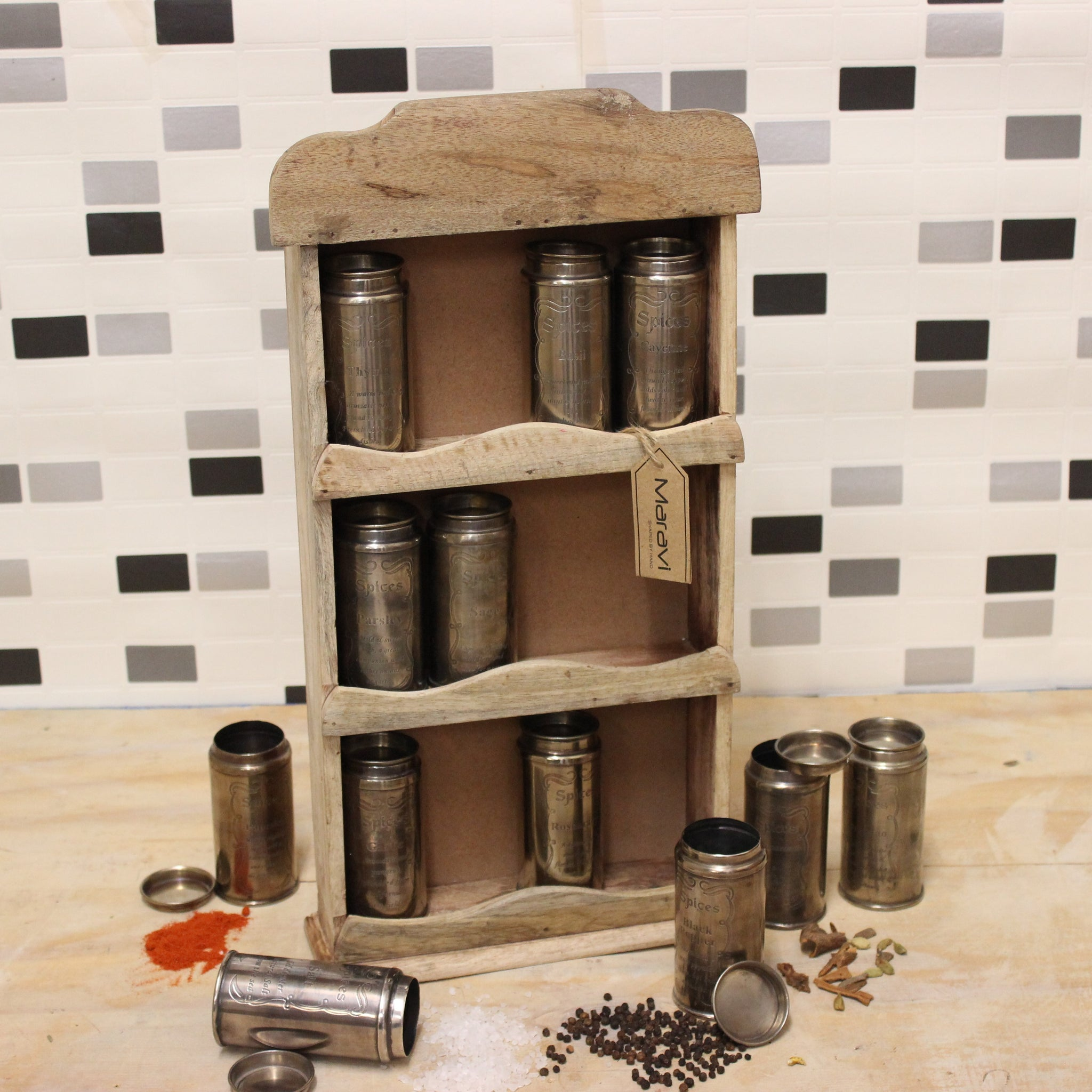 Namak Vintage Spice Rack and Canister Set