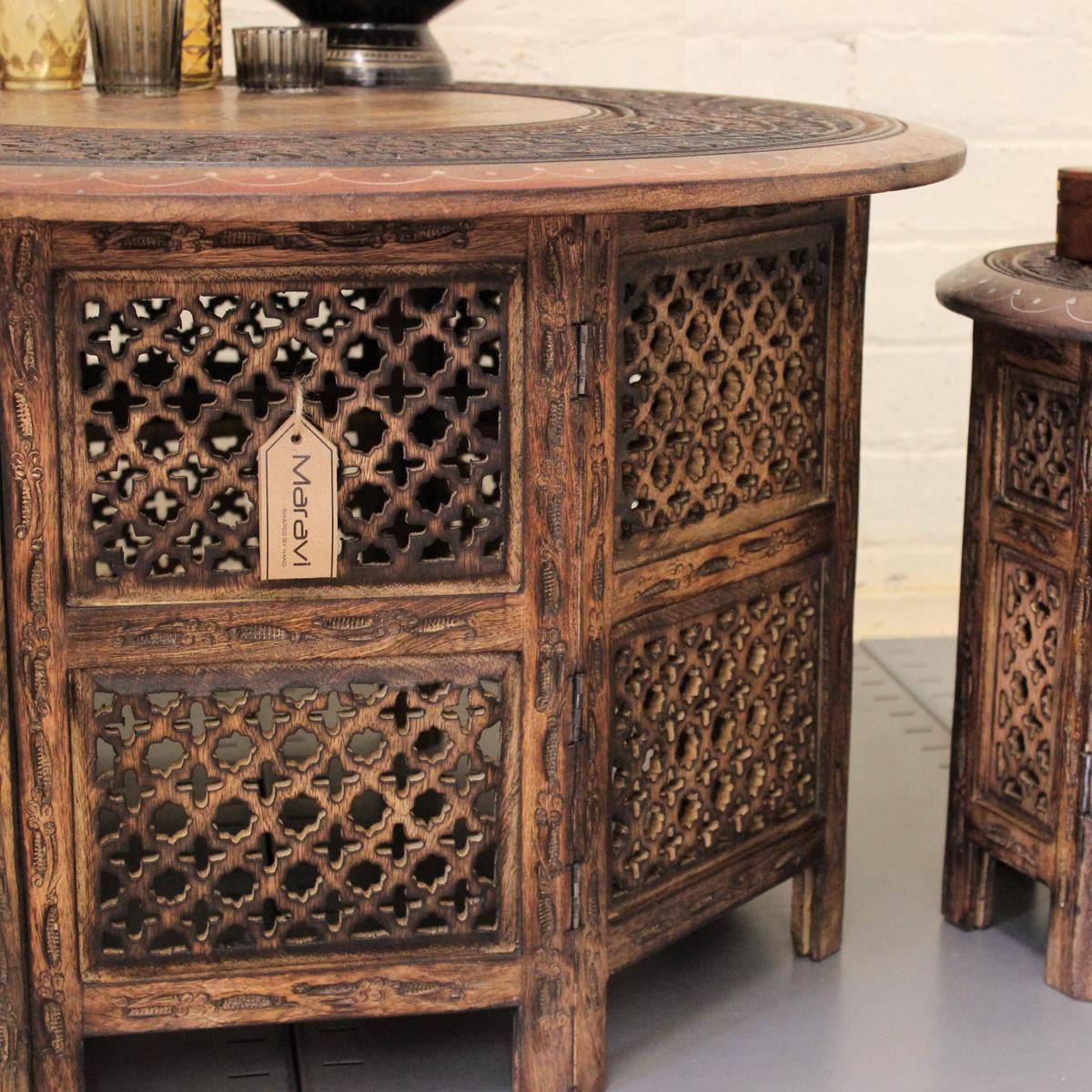 hand carved wooden coffee and side table