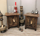 Square Side Tables Moroccan Style Carving