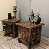 Maravi Set of 2 Small Square Side Tables Moroccan Style Carving with Storage