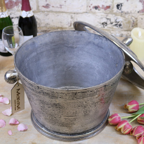 Vintage Large Champagne Ice Bucket with lid off